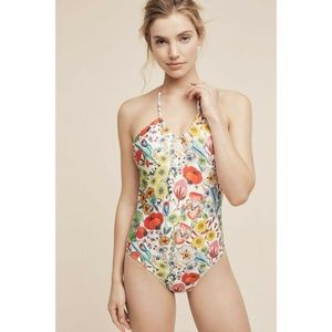 New Anthropologie U-Neck One-Piece Floral Swimsuit